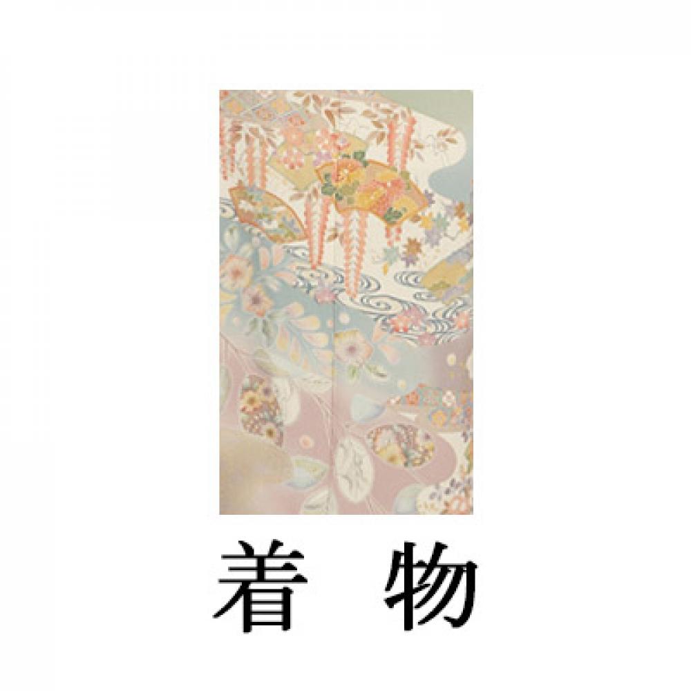 WEB訪問着【003-305 グレー地 扇に辻ヶ花】