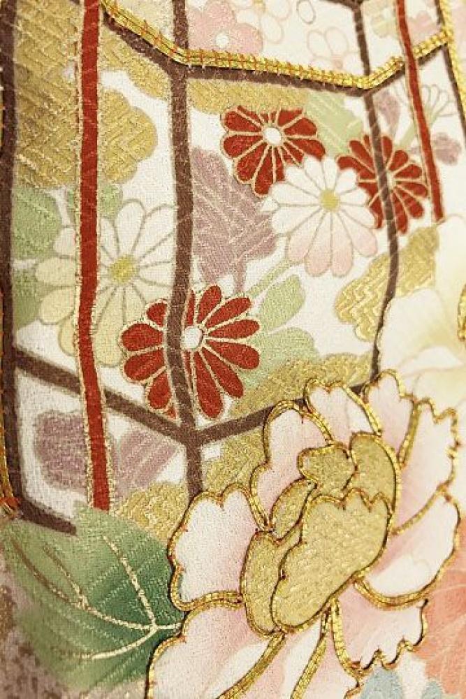 【全国往復送料無料】 訪問着フルセットレンタル 普通巾【003-306 ローズ地小花に貝桶】