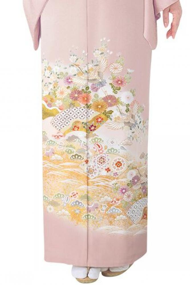 【全国往復送料無料】 色留袖フルセットレンタル 普通巾【9025 七宝に飛鶴】