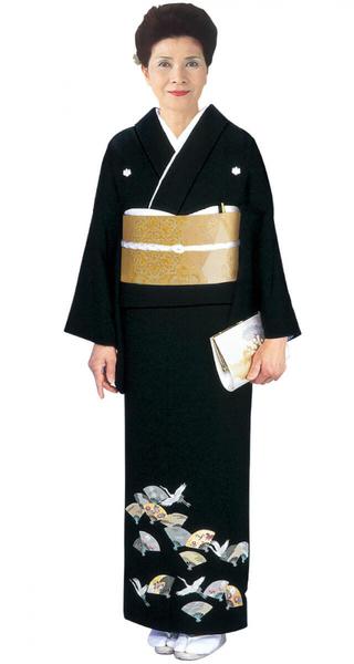 【全国往復送料無料】 留袖フルセットレンタル 普通巾【002-059 扇面小鶴】
