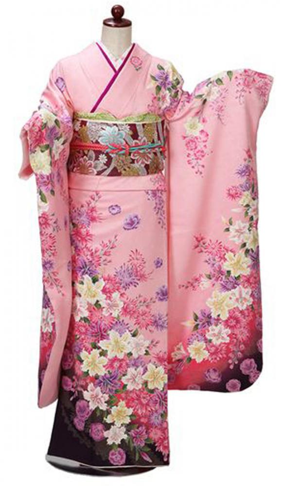 【全国往復送料無料】 中振袖フルセットレンタル SM丈【405-1 ピンク地洋花】
