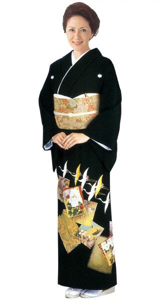 【全国往復送料無料】 留袖フルセットレンタル 普通巾【002-013 色紙光琳鶴】