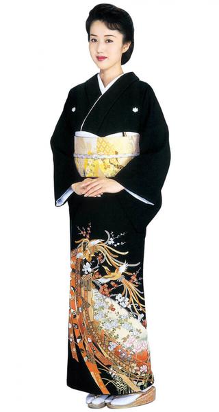【全国往復送料無料】 留袖フルセットレンタル 普通巾【002-022 几帳に鳳凰】
