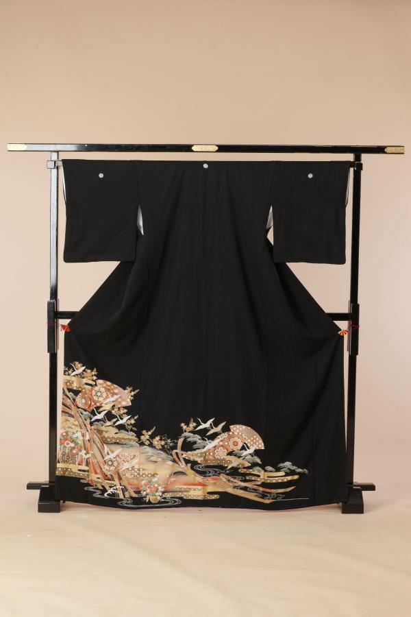【全国往復送料無料】 留袖フルセットレンタル 普通巾【5019 熨斗に鶴舞】