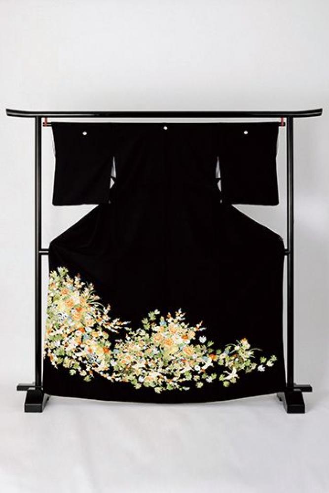 【全国往復送料無料】 留袖フルセットレンタル 普通巾【6273 草花に吉祥鶴(総刺繍)】