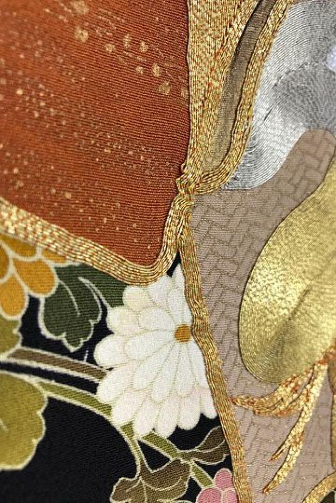 【全国往復送料無料】 留袖フルセットレンタル 普通巾【5059 菊花に色絵】