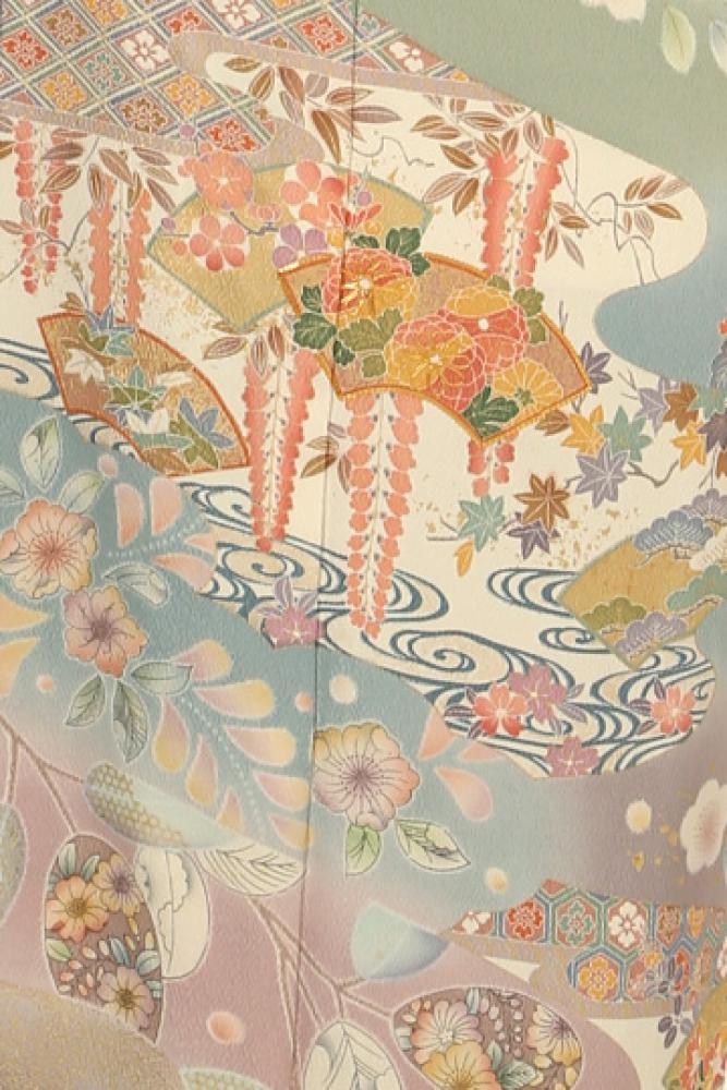 【全国往復送料無料】 訪問着フルセットレンタル 普通巾【003-305 グレー地扇に辻ヶ花】