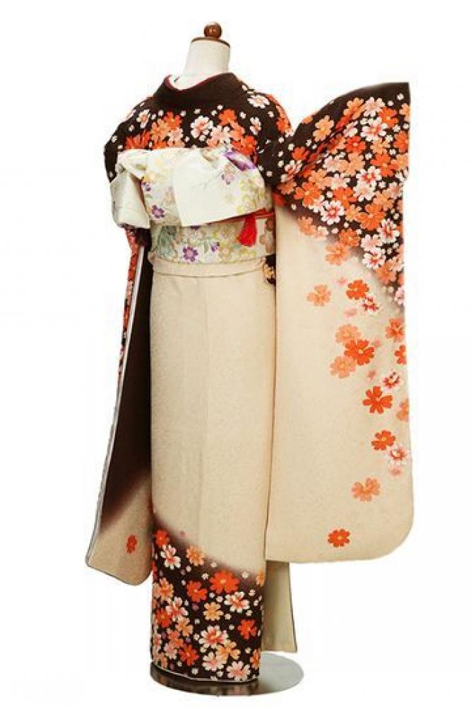 【全国往復送料無料】 中振袖フルセットレンタル SM丈【424-1 秋桜】