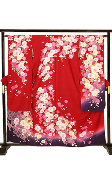 【全国往復送料無料】 成人式フルセットレンタル 155~164cm用【ANB_10 赤地・春の誘(いざな)い】