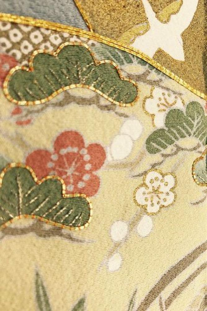 【全国往復送料無料】 色留袖フルセットレンタル 普通巾【9021 ブルーグレー地金彩扇に小花(京友禅)】