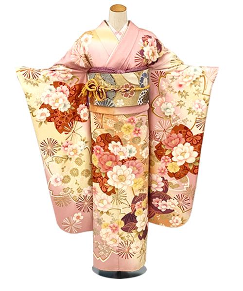 【全国往復送料無料】 成人式フルセットレンタル 155~164cm用【ANB_14 ピンク地・春の栄花】