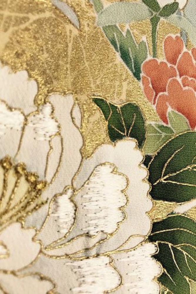 【全国往復送料無料】 色留袖フルセットレンタル 普通巾【002-112 御所車にぼたん】