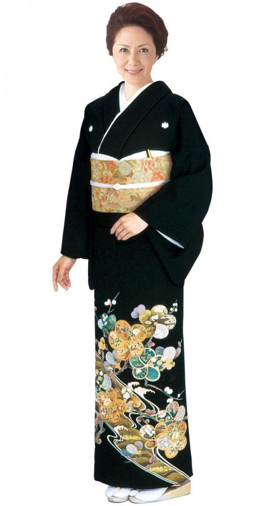 【全国往復送料無料】 留袖フルセットレンタル 普通巾【002-006 ねじり梅】