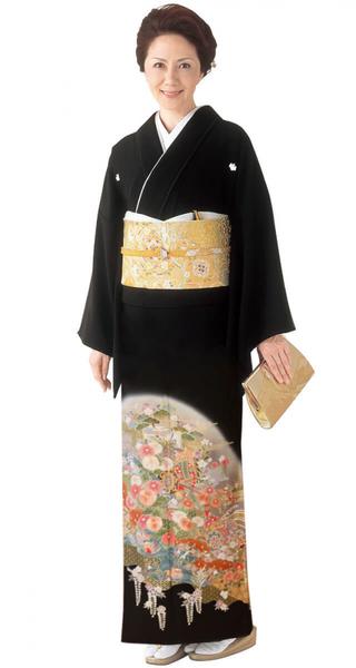 【全国往復送料無料】 留袖フルセットレンタル 普通巾【4023 花群に枝垂れ花】