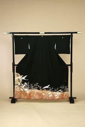 【全国往復送料無料】 留袖フルセットレンタル 普通巾【002-046 曙飛翔】