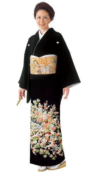 【全国往復送料無料】 留袖フルセットレンタル 普通巾【6296 (赤系)草花に吉祥鶴(総刺繍)】