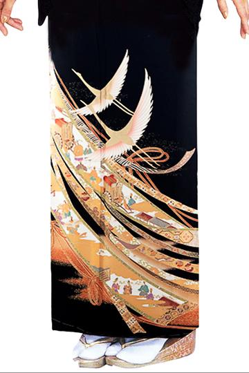 ★新作★【全国往復送料無料】 留袖フルセットレンタル 普通巾【6306 のしに鶴(京友禅)】