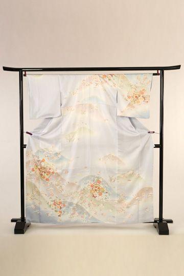 【全国往復送料無料】 訪問着フルセットレンタル 普通巾【003-307 ブルーグレー地貝桶】