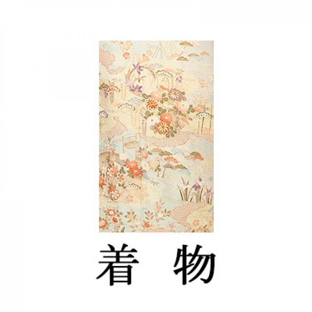 WEB訪問着【003-308 ブルーグレー地 雲取に花(京友禅)】