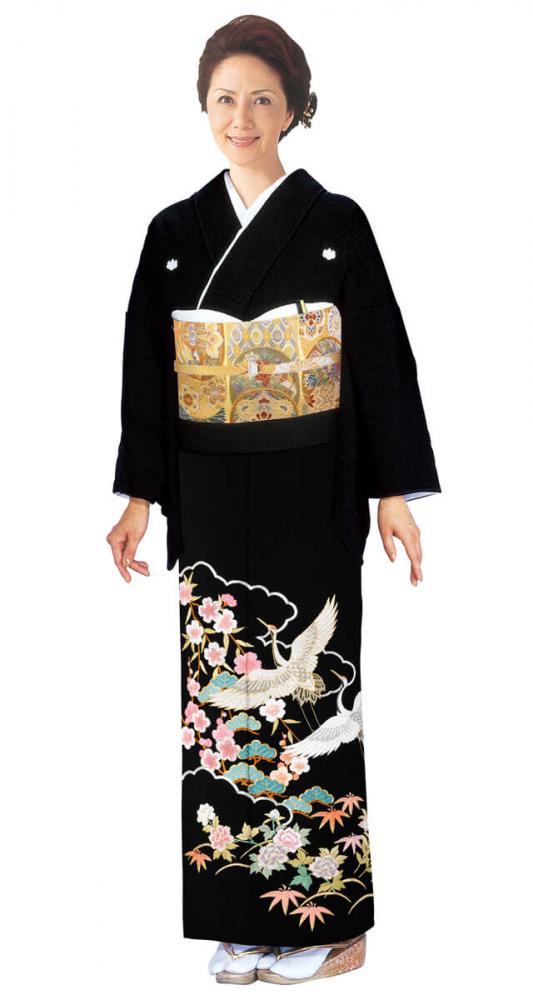 【全国往復送料無料】 留袖フルセットレンタル 普通巾【6274 鶴に松竹梅(高級相良刺繍)】