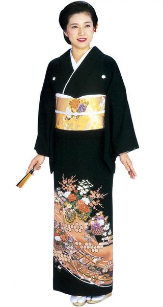 【全国往復送料無料】 留袖フルセットレンタル 普通巾【002-018 花車に巻物】
