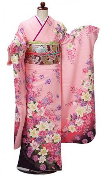 【全国往復送料無料】 中振袖フルセットレンタル ML丈【405-2 ピンク地洋花】