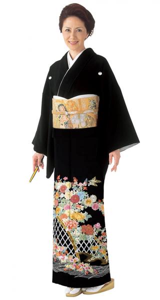 【全国往復送料無料】 留袖フルセットレンタル 普通巾【6279 綱代に草花(総刺繍)】