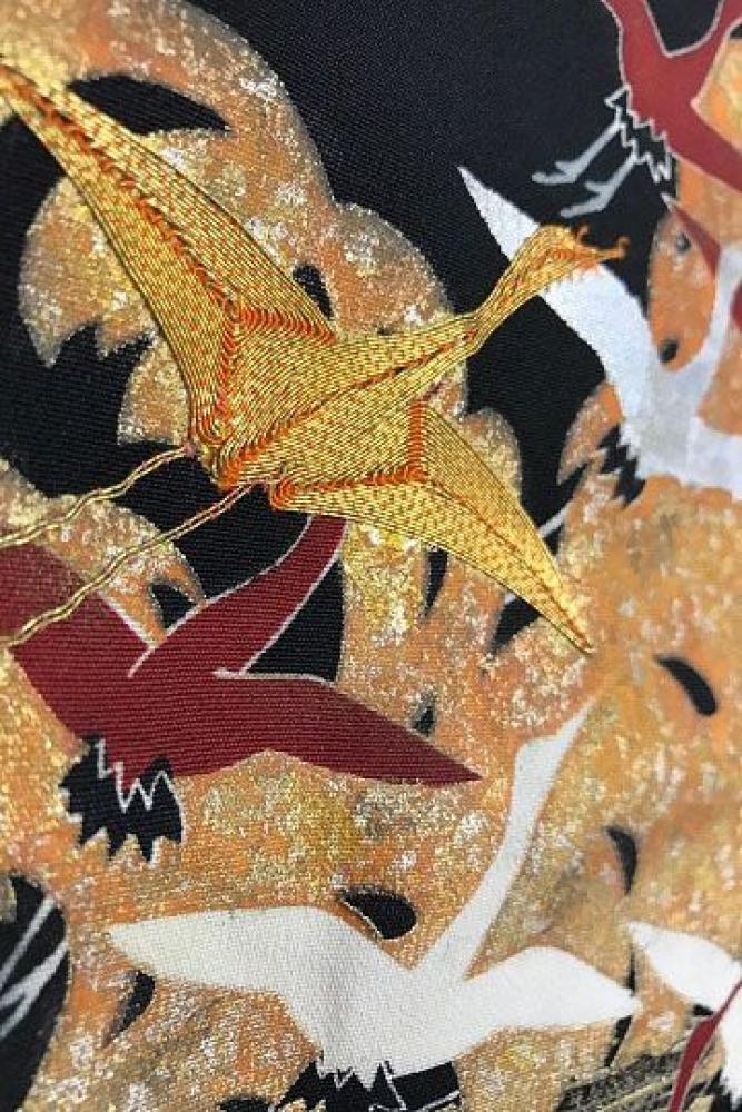 【全国往復送料無料】 留袖フルセットレンタル 普通巾【6011 波上千羽鶴】