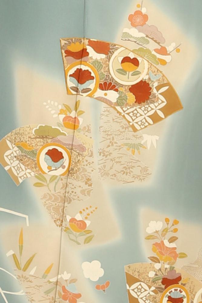 【全国往復送料無料】 訪問着フルセットレンタル 普通巾【003-311 ブルーグレー地紙】