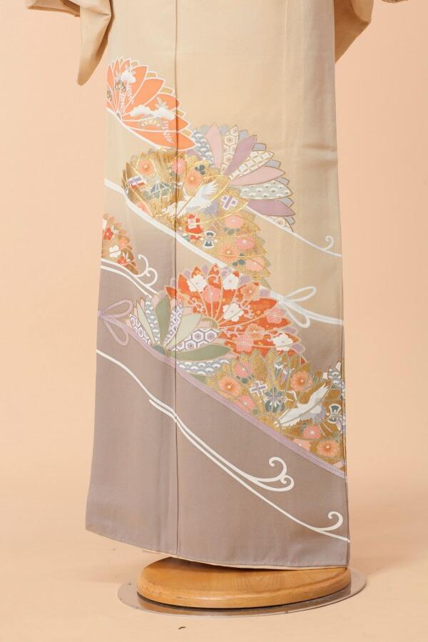 【全国往復送料無料】 色留袖フルセットレンタル 普通巾【9006 川辺華文】