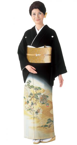 【全国往復送料無料】 留袖フルセットレンタル 普通巾【002-213 春秋御幸図】