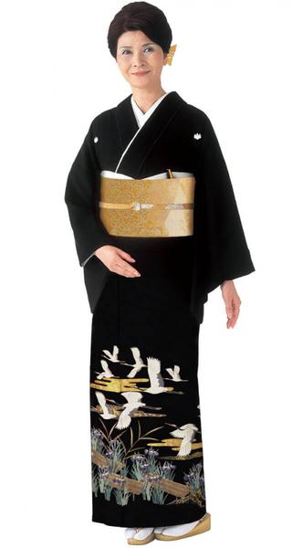 【全国往復送料無料】 留袖フルセットレンタル 普通巾【002-263 菖蒲に飛鶴】