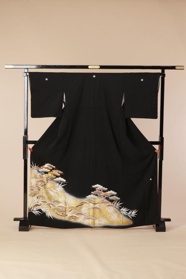 【全国往復送料無料】 留袖フルセットレンタル 普通巾【5029 金松雲層】
