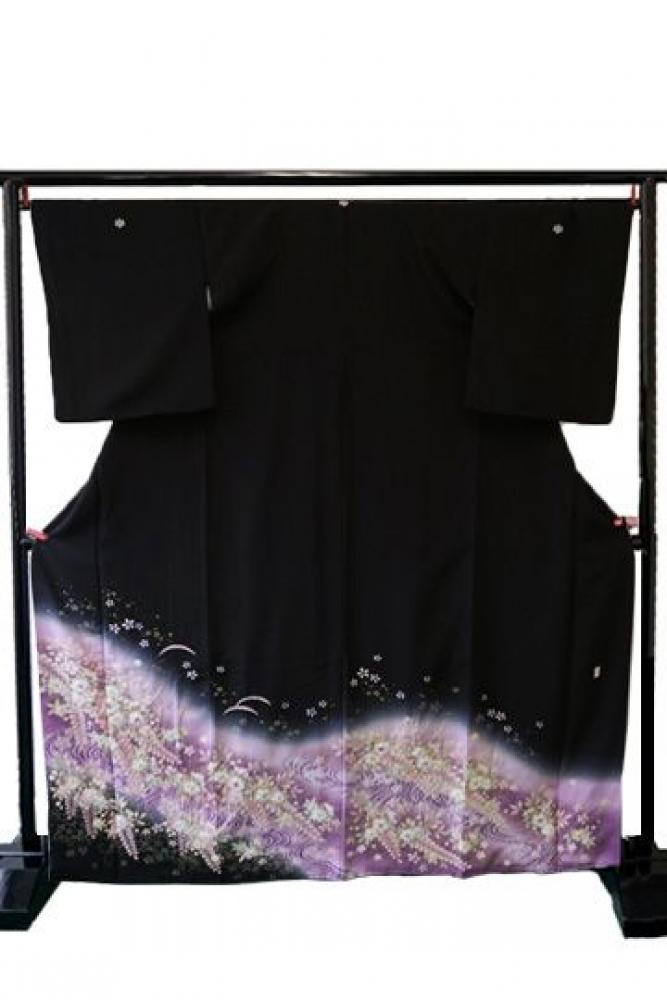 【全国往復送料無料】 留袖フルセットレンタル 普通巾【6281 紫辻ヶ花(総絞り)】