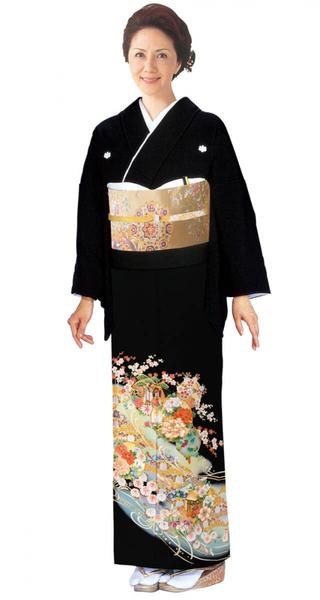【全国往復送料無料】 留袖フルセットレンタル 広巾【1030 水色ぼかし牡丹に丸紋(京友禅)】