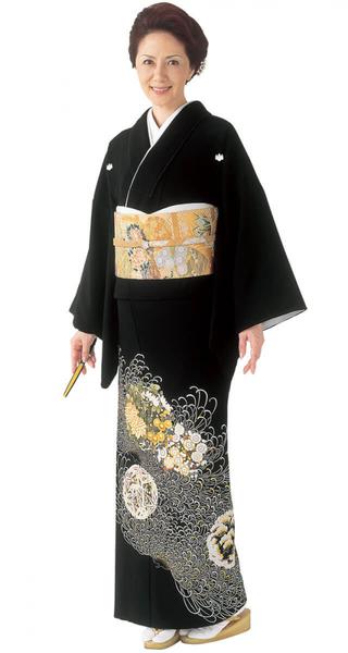 【全国往復送料無料】 留袖フルセットレンタル 普通巾【002-212 糸菊に四君子】