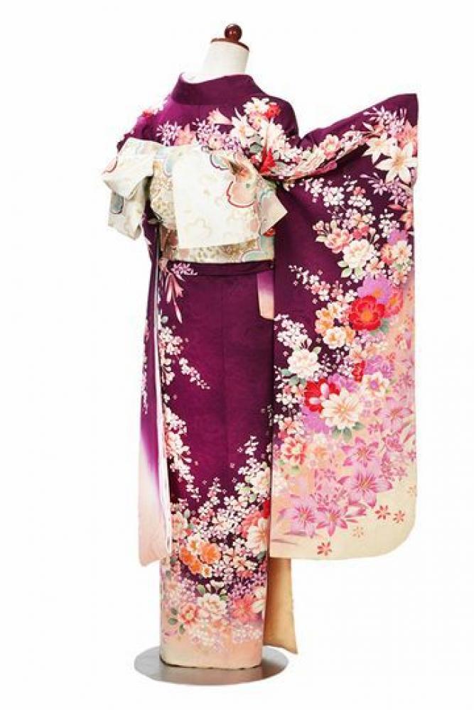 【全国往復送料無料】 中振袖フルセットレンタル ML丈【403-2 紫地花ちらし】