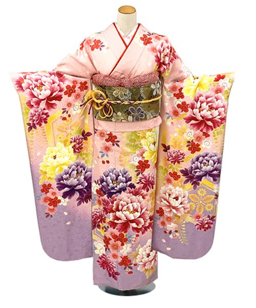 【全国往復送料無料】 成人式フルセットレンタル 160~170cm用【ANB_16 ピンク牡丹】