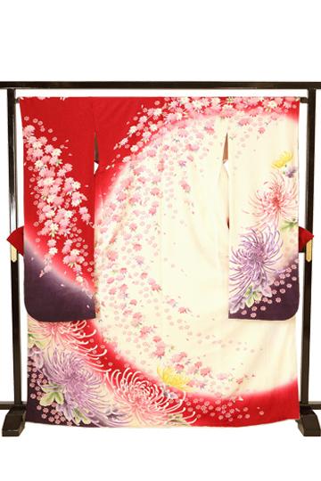 【全国往復送料無料】 成人式フルセットレンタル 160~170cm用【ANB_8 白赤地・春の謳歌】