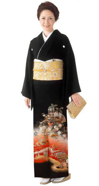【全国往復送料無料】 留袖フルセットレンタル 普通巾【4010 雲層流水】