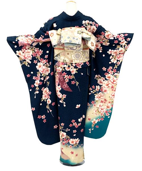 【全国往復送料無料】 成人式フルセットレンタル 160~170cm用(広巾)【ANB_6 藍緑地天の羽衣】