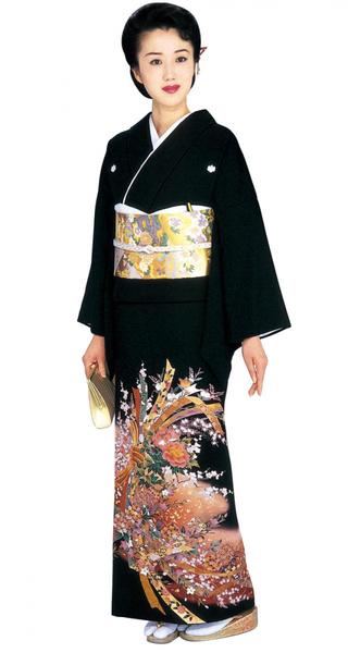 【全国往復送料無料】 留袖フルセットレンタル 普通巾【002-023 熨斗牡丹】