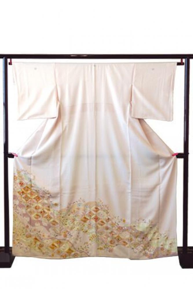 【全国往復送料無料】 色留袖フルセットレンタル 普通巾【9023 薄撫子地七宝(京友禅)】