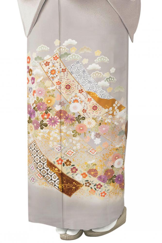 【全国往復送料無料】 色留袖フルセットレンタル 普通巾【9014 グレー地熨斗に小花ちらし】